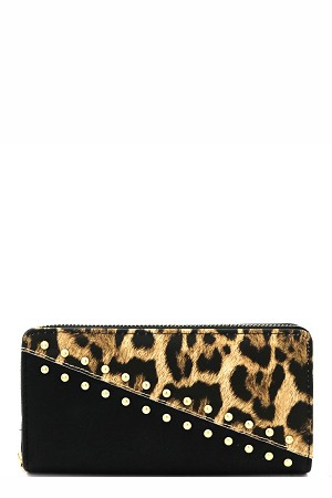 DIAGONAL SNAKEACCENT STUDDED WALLET  - orangeshine.com