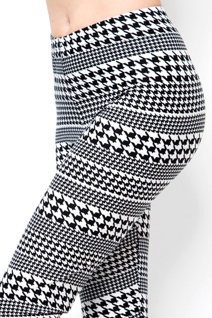 HOUNDSTOOTH PRINT BRUSHED FULL LEGGI - orangeshine.com