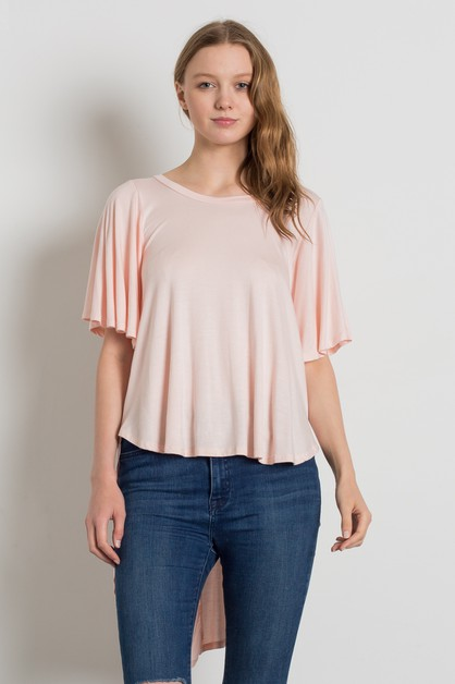 DRAMATIC HI LOW HEM ROUND NECK TOP - orangeshine.com