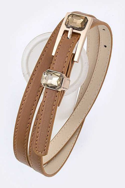 Crystal Buckle Skinny Fashion Belt - orangeshine.com