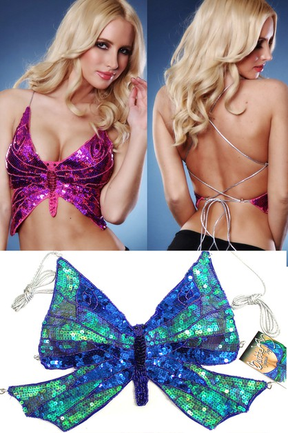 SEQUINS BUTTERFLY TOP BRA - orangeshine.com