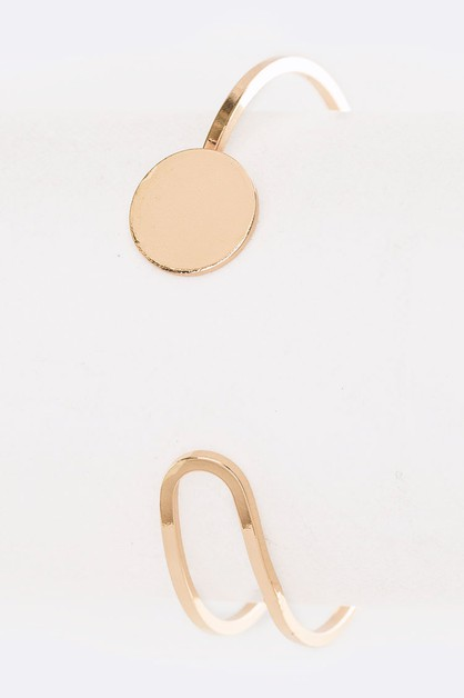 Round Disk Iconic Open Cuff Bangle - orangeshine.com