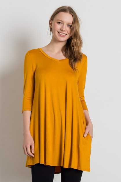 Knit Solid V Neck Tunic Top - orangeshine.com