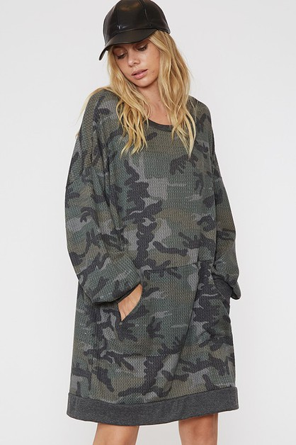 Camouflage Sweater Dress with Pocket - orangeshine.com