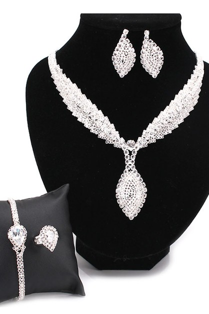Cubic Rhinestone Necklace 4 Set - orangeshine.com
