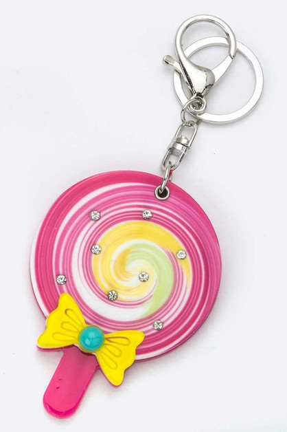 Lollipop Compact Mirror Key Charm - orangeshine.com
