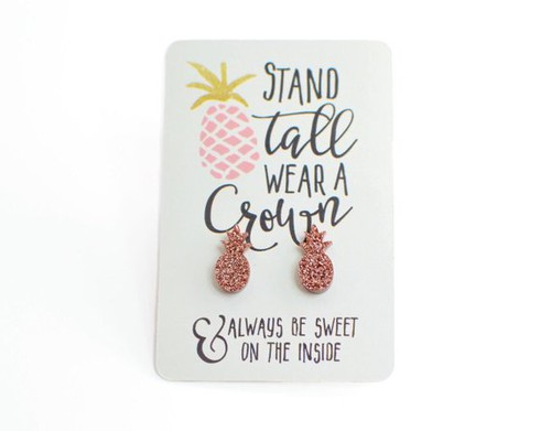 Rose Gold Pineapple Studs - orangeshine.com
