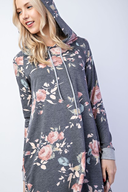 Floral A-line hoodie dress - orangeshine.com