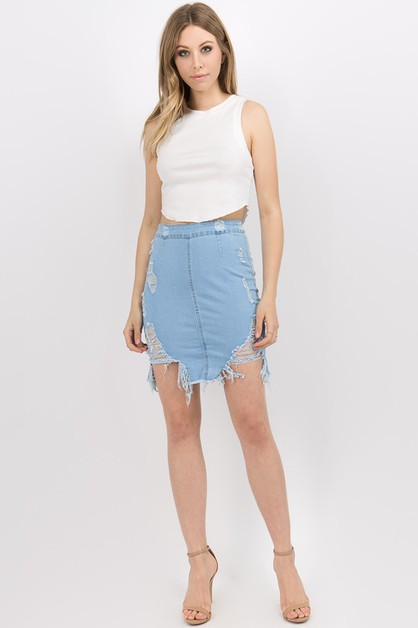 DESTROYED DENIM SKIRTS - orangeshine.com