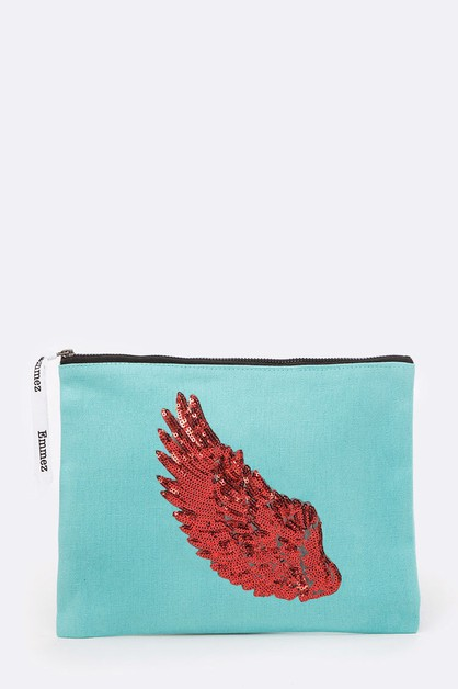 Red Wing Sequins Embellished Pouch - orangeshine.com