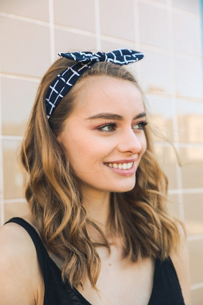 Grid Headband with Bow - orangeshine.com