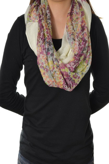 Solid and Floral Loop Scarf - orangeshine.com