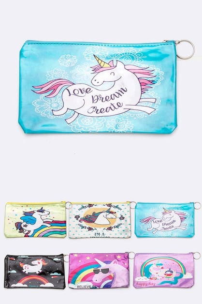 Mix Unicorn Printed Makeup Pouch Set - orangeshine.com