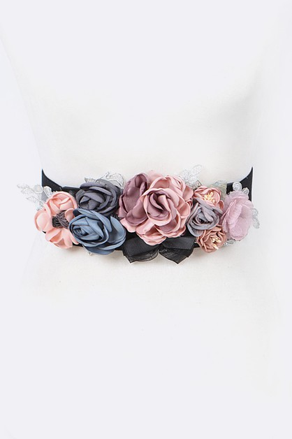 Mix Satin Floral Stretch Belt - orangeshine.com