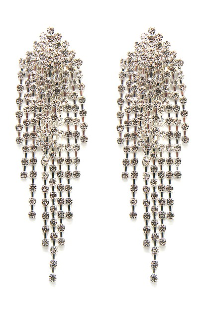 Rhinestone Tassel Clip Earrings - orangeshine.com