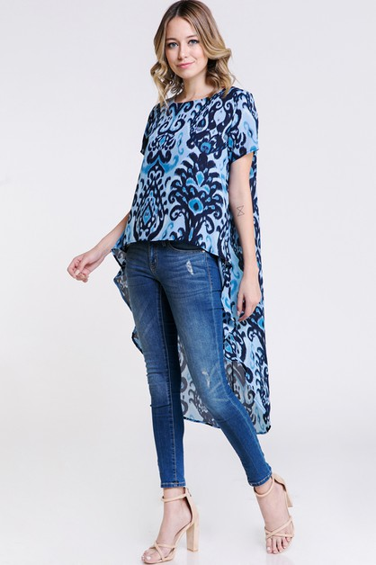 Gorgeous Print Flowing High Low Top - orangeshine.com