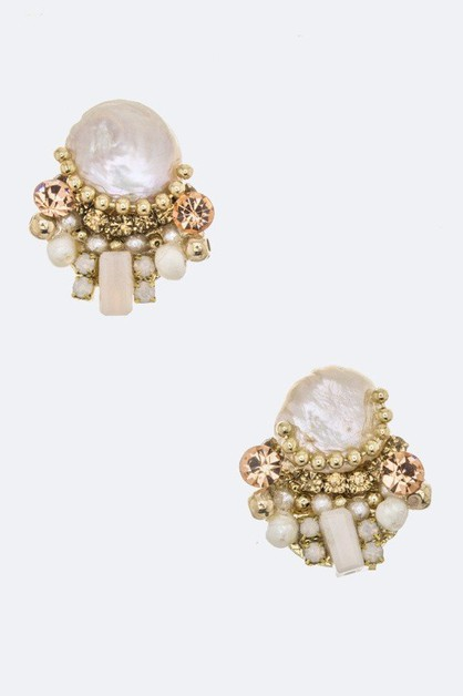 Pearl and Crystal Stud Earrings - orangeshine.com