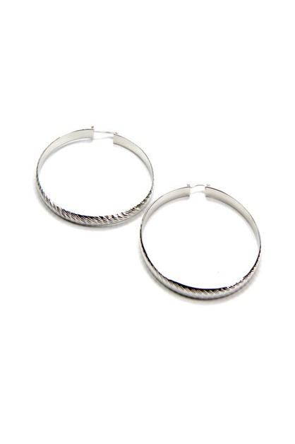 Diagonal Textured Hoop Earrings - orangeshine.com