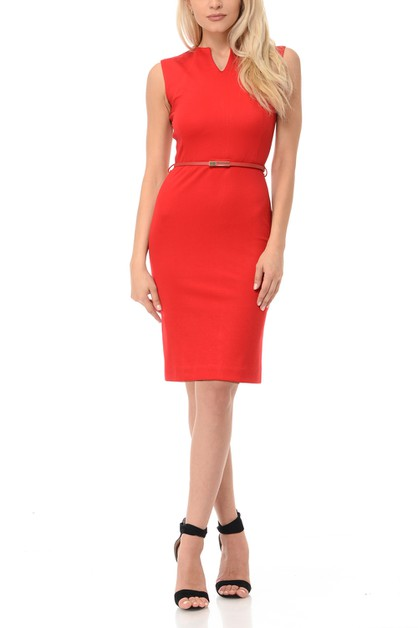 women sleeveless bodycon knee length - orangeshine.com