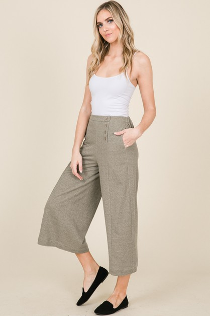 2TONE FRENCH TERRY WIDE LEG PANTS - orangeshine.com