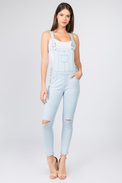 KNEE SLIT DENIM OVERALL - orangeshine.com