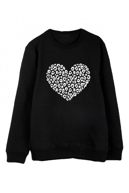 Leopard Heart Print  Sweater - orangeshine.com
