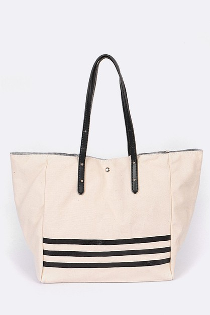 Contrast Lined Canvas Tote Bag - orangeshine.com