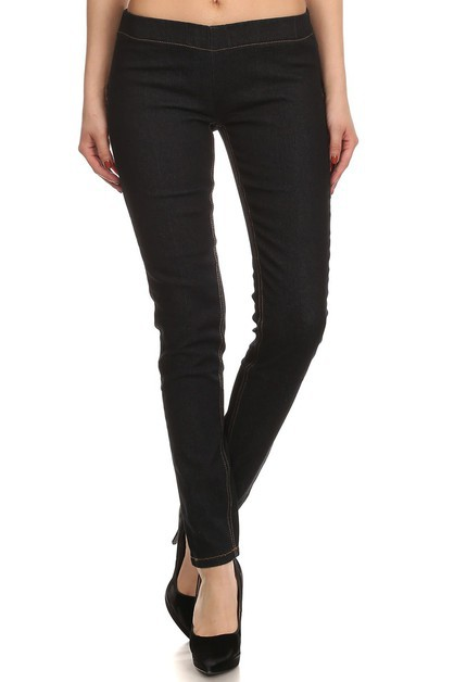 Solid Mid Rise Stretch Jeggings - orangeshine.com