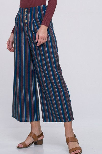 multi colored stripe wide pants - orangeshine.com