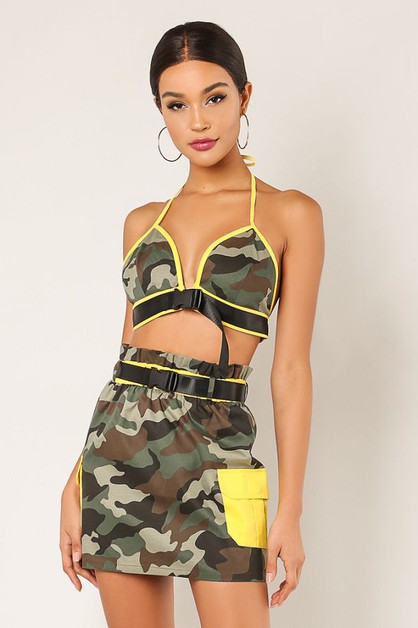 Camo Print 2 Piece Set - orangeshine.com