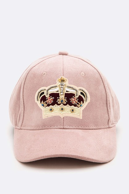 Royal Crown Patched Suede Cap - orangeshine.com