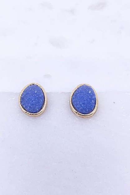 Druzy Post Earrings  - orangeshine.com