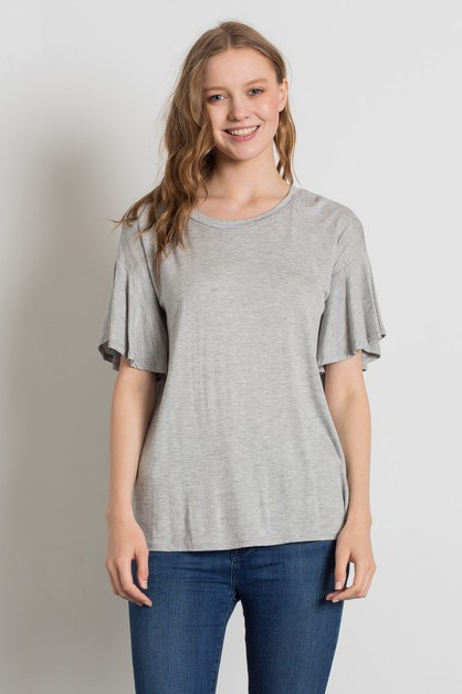 KNIT HALF SLEEVE LOOSE FIT TOP - orangeshine.com