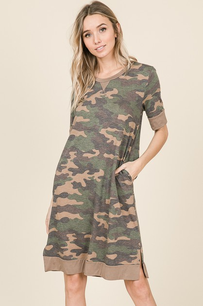 CAMO DRESS WITH POCKETS - orangeshine.com