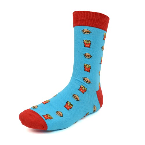 Men Hamburger French Fries Fun Socks - orangeshine.com