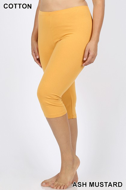 PLUS PREMIUM COTTON CAPRI LEGGINGS - orangeshine.com