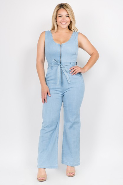 PLUS SIZEFRONT ZIP-UP DENIM JUMPSUIT - orangeshine.com