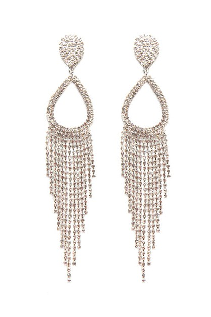 Rhinestone Tassel Drop Clip Earrings - orangeshine.com