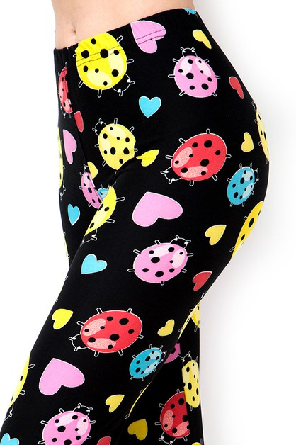 LADYBUG PRINT BRUSHED FULL LEGGINGS - orangeshine.com