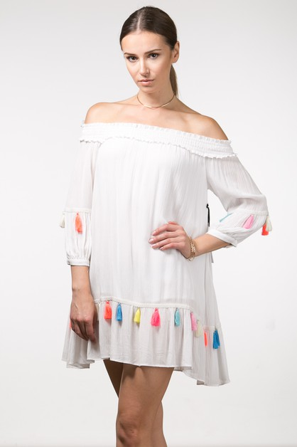 MULTI COLOR TASSLE OFF SHOULDER DRES - orangeshine.com