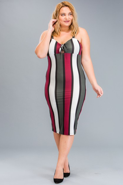 Plus Size Stripe Bodycon Dress - orangeshine.com