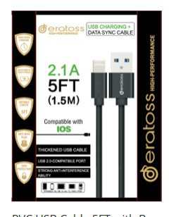 IOS USB Cable 5 FT with Box  eratoss - orangeshine.com