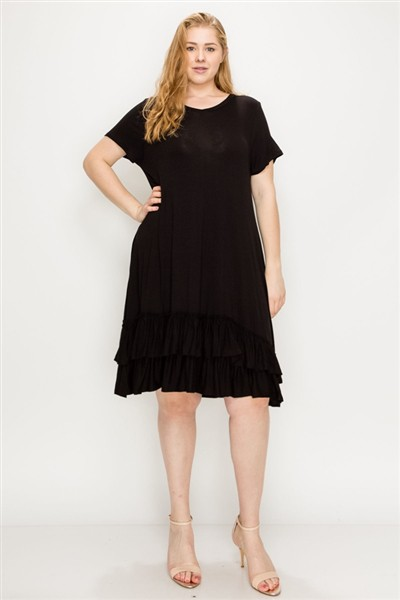 Ruffle-trim Georgette swing dress - orangeshine.com