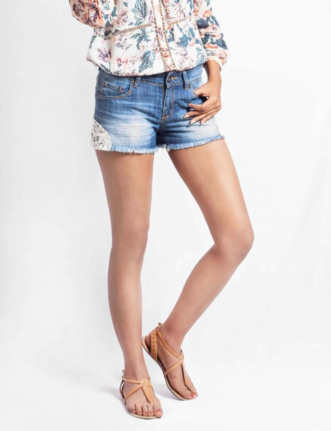 Womens Lace Denim Shorts - orangeshine.com