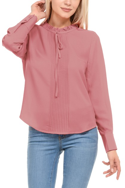 Women Solid  Long Sleeve Top Blouse - orangeshine.com