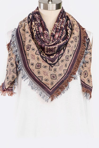 Mix Prints Iconic Fringe Scarf - orangeshine.com