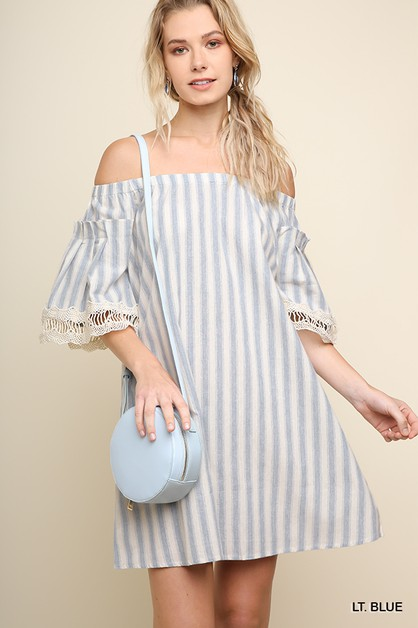 Striped Off Shoulder Pocket Dress - orangeshine.com