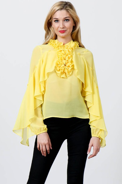 High-Neck Ruffled Long Sleeve Blouse - orangeshine.com