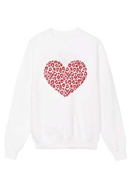 Leopard Heart in Red Sweater - orangeshine.com