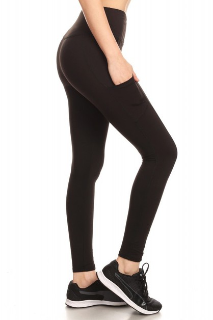 Solid pocketed yoga legging - orangeshine.com